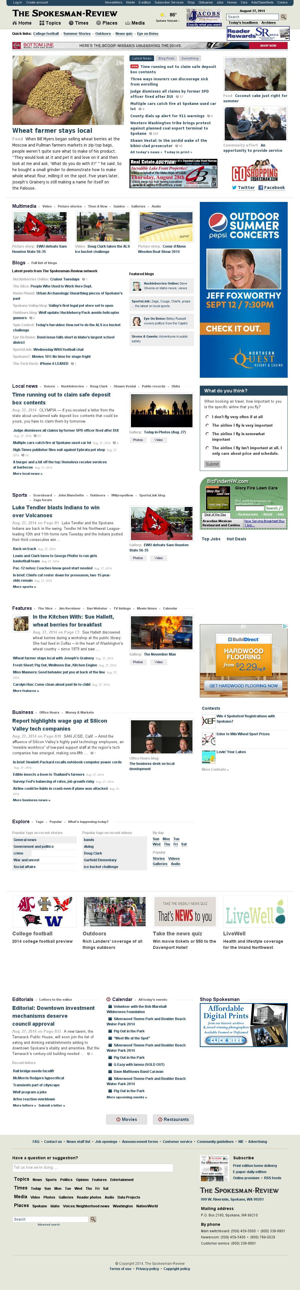 The (Spokane) Spokesman-Review at Wednesday Aug. 27, 2014, 10:17 p.m. UTC