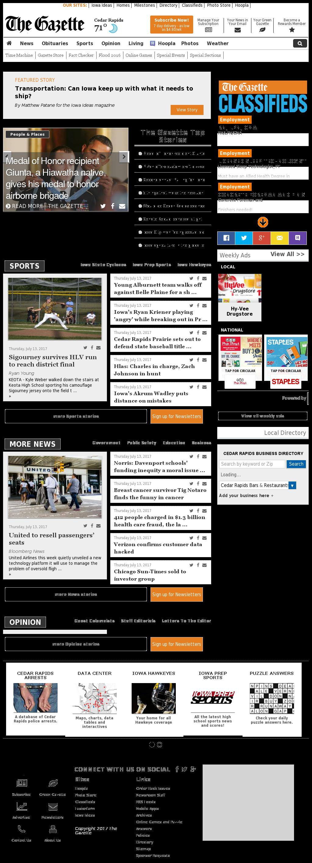 The (Cedar Rapids) Gazette at Friday July 14, 2017, 4:05 a.m. UTC
