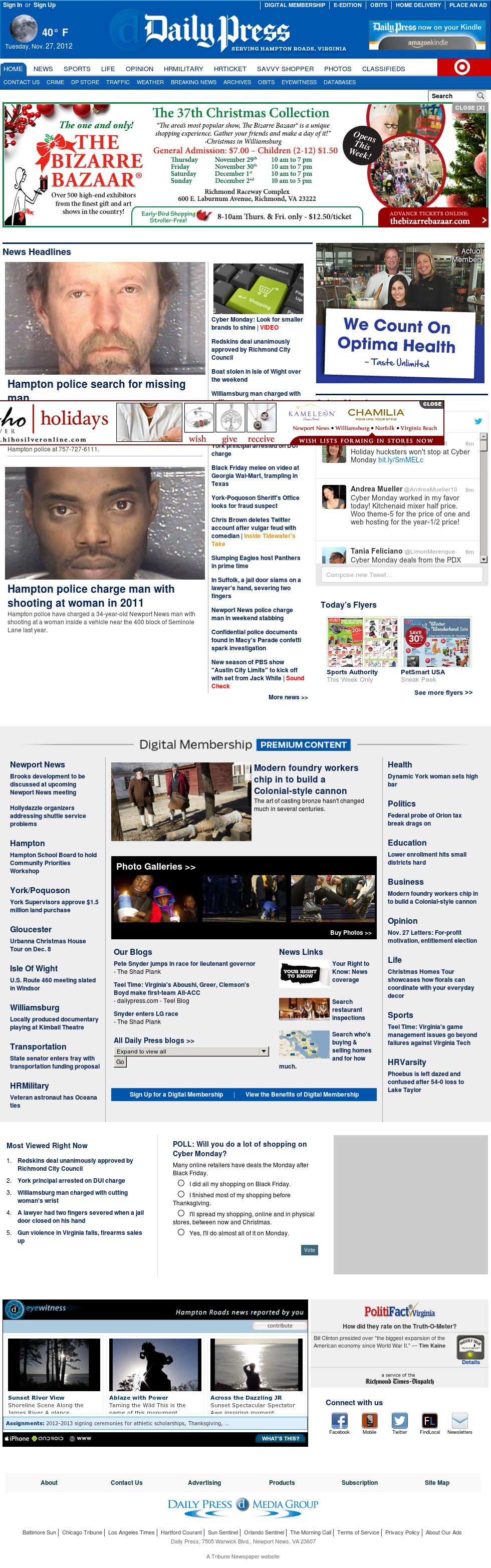 (Hampton Roads) Daily Press at Tuesday Nov. 27, 2012, 7:06 a.m. UTC