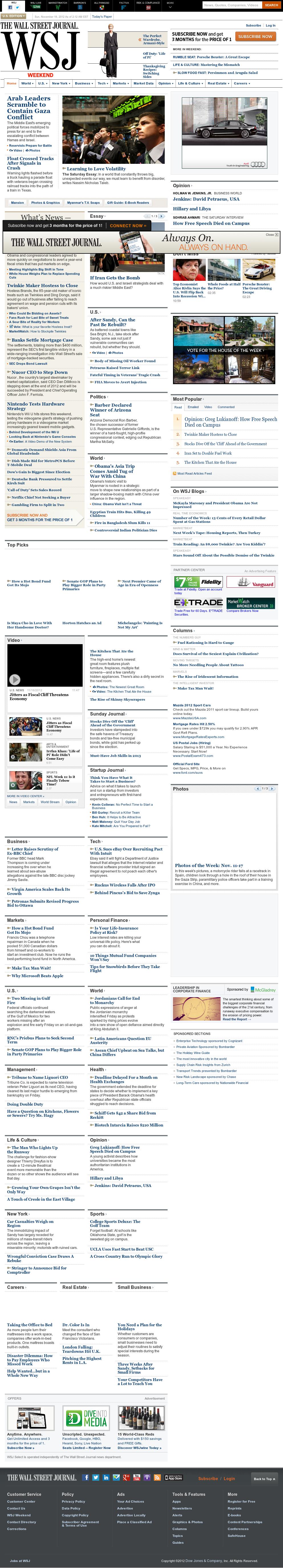 The Wall Street Journal at Sunday Nov. 18, 2012, 12:31 p.m. UTC