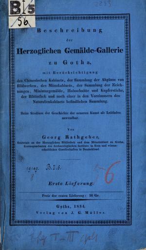 Beschreibung der Herzoglichen Gemälde-Gallerie zu Gotha by Georg Rathgeber